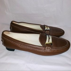 Tod's Brown Pebbed Leather Loafers